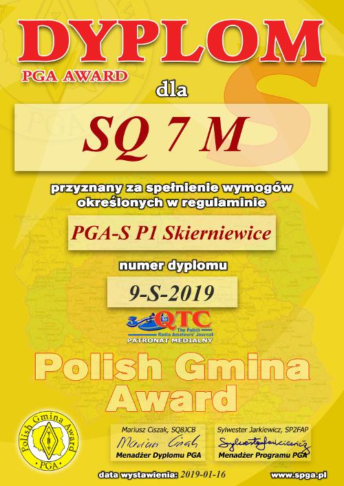 Dyplom PGA-S P1 dla SQ7M